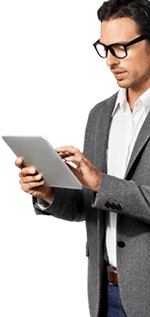 guy with glasses holding tablet